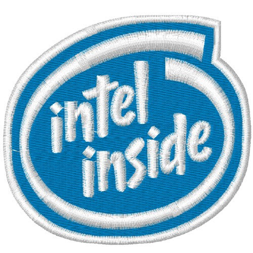 AUFNÄHER PATCH INTEL INSIDE 8x7,5cm