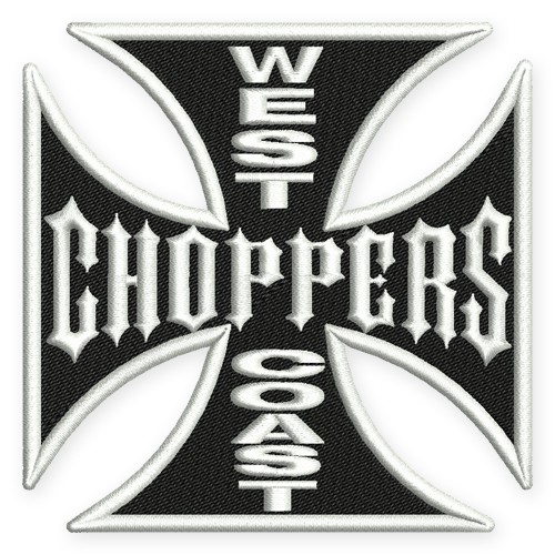 BIKER AUFNÄHER PATCH WEST COAST CHOPPERS Kreutz 9X9cm