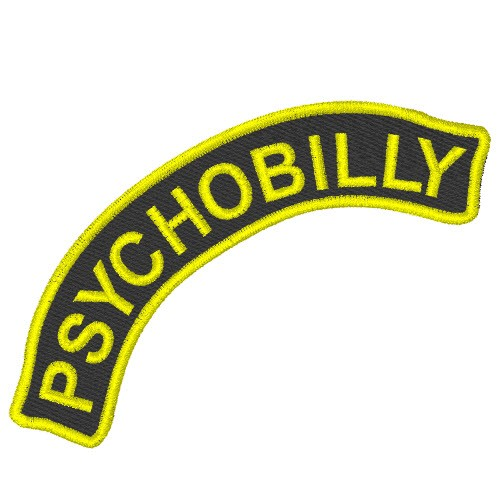 MUSIK FAN AUFNÄHER PATCH PSYCHOBILLY 10x3,7cm