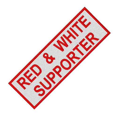 RED WHITE SUPPORTER ANGELS BIKER PATCH AUFNÄHER 10x4cm