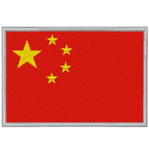 CHINA FAHNE FLAG 100 gest. PATCH AUFNÄHER 8x5,5cm
