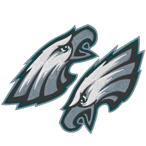 2 PHILADELPHIA EAGLES FOOTBALL AUFNÄHER PATCH 10x4,2cm