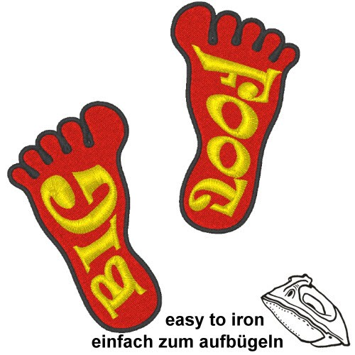 2 BIG FOOT KID KINDER APLIKATION AUFNÄHER PATCH 4x7cm