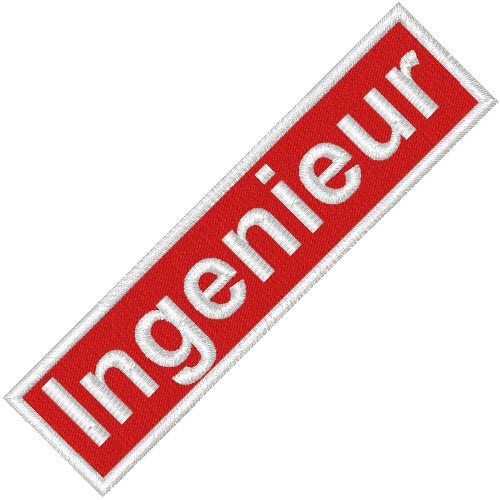 BUSINESS PATCH AUFNÄHER INGENIEUR red/white 9x2cm