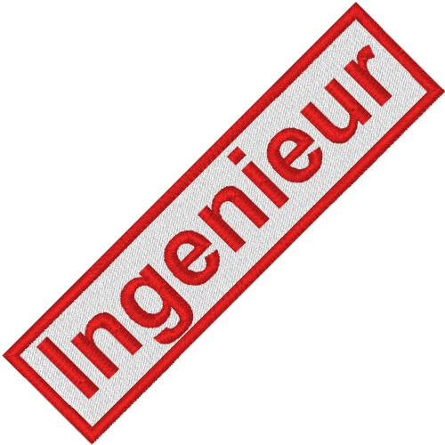 BUSINESS PATCH AUFNÄHER INGENIEUR white/red 9x2cm