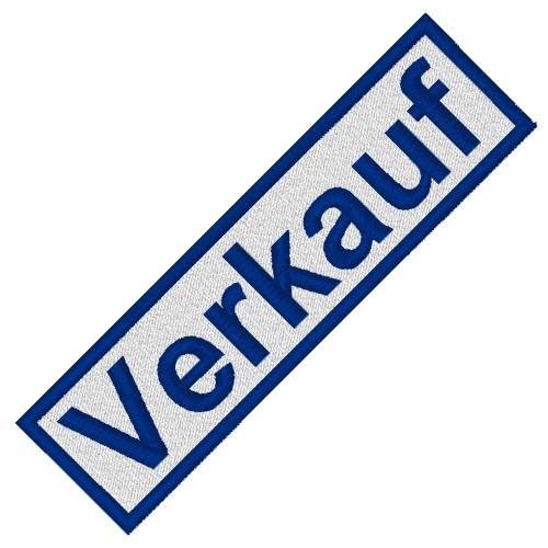 BUSINESS PATCH AUFNÄHER VERKAUF white/blue 8x2cm