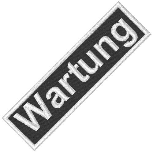 BUSINESS PATCH AUFNÄHER WARTUNG black/white 8x2cm