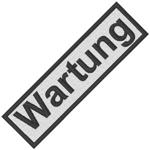 BUSINESS PATCH AUFNÄHER WARTUNG white/black 8x2cm