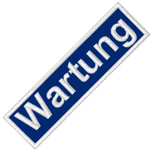 BUSINESS PATCH AUFNÄHER WARTUNG bue/white 8x2cm
