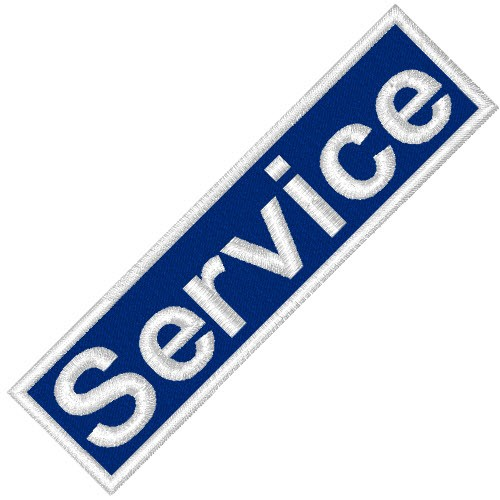 BUSINESS PATCH AUFNÄHER SERVICE white/blue 8x2cm