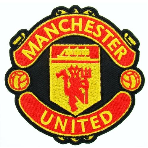 Fußball Aufnäher Manchester United auf schwarz 10x10cm