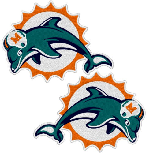 MIAMI DOLPHINS NFL DOUBLEPACK FOOTBALL PATCH 10x8cm