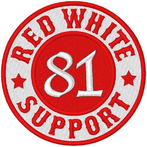 Biker Aufnäher Patch RED WHITE SUPPORT 81 8x8cm