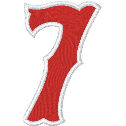 Zahl Aufnäher Patch Number Nummer 7 100% gestickt,H=7cm