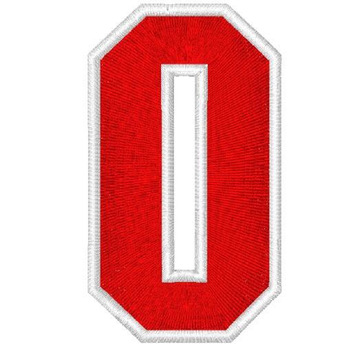Schrift Aufnäher Patch Zahl Number 0 100% gestickt,H=7cm