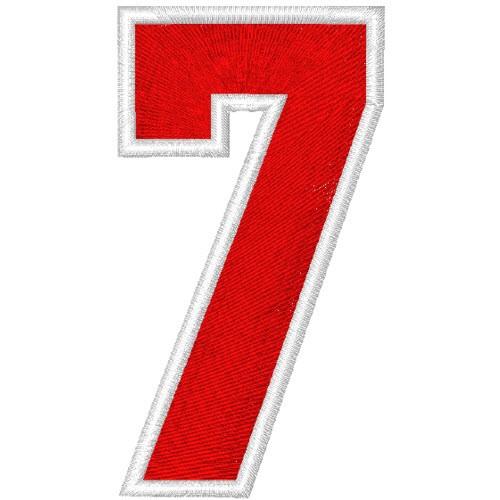 Schrift Aufnäher Patch Zahl Number 7 100% gestickt,H=7cm