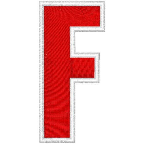 Schrift Aufnäher Patch Buchstabe F 100% gestickt,H=7cm