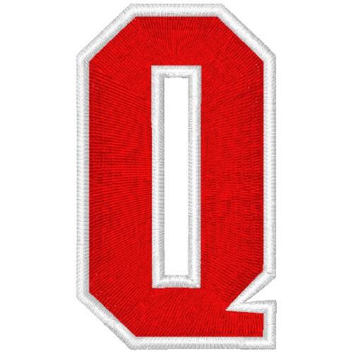 Schrift Aufnäher Patch Buchstabe Q 100% gestickt,H=7cm