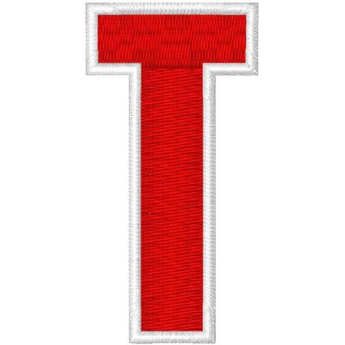 Schrift Aufnäher Patch Buchstabe T 100% gestickt,H=7cm