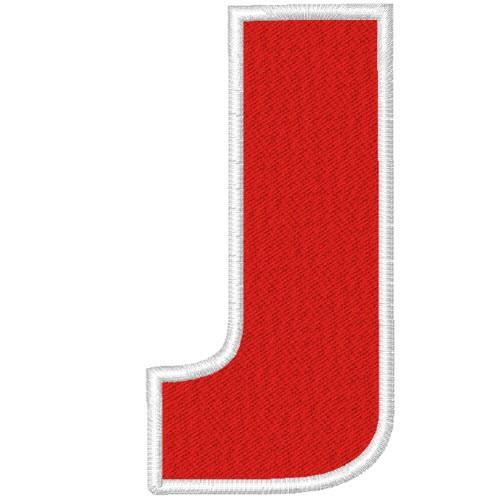 Schrift Aufnäher Buchstabe Patch J 100% gestickt,H=7cm