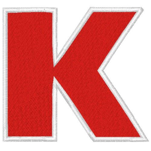 Schrift Aufnäher Buchstabe Patch K 100% gestickt,H=7cm