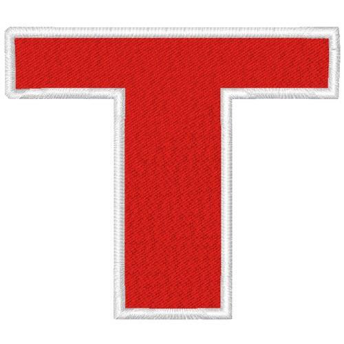 Schrift Aufnäher Buchstabe Patch T 100% gestickt,H=7cm