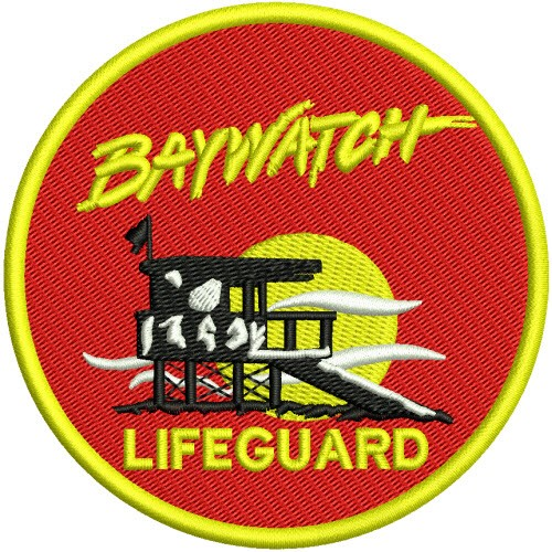 AUFNÄHER PATCH Beach BAYWATCH Lifeguard D=9cm