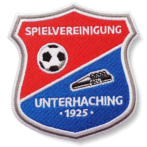 Fußball Aufnäher SpVgg Unterhaching 100% gestickt 8x8,5cm