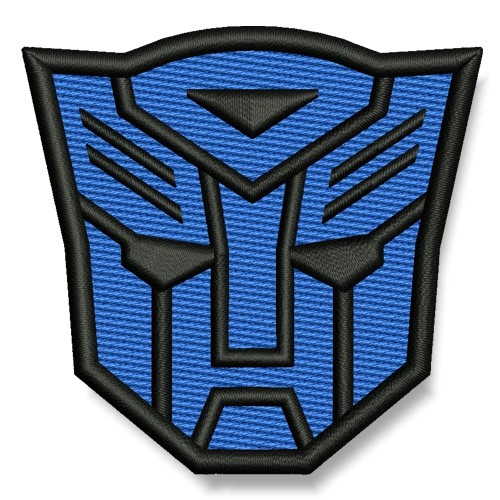 Transformer AUFNÄHER blau/schwarz PATCH Science-Fiction Superheld Hero 7x6,5cm