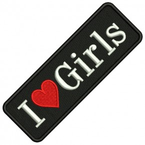 AUFNÄHER PATCH I LOVE GIRLS 13x4,5cm