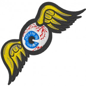 AUGE MIT FLÜGEL EYE WITH WINGS AUFNÄHER PATCH 10x3,4cm