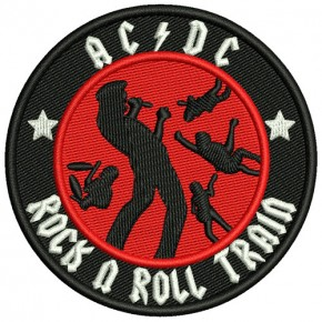 AUFNÄHER PATCH AC\\\\DC ACDC ROCK N ROLL TRAIN D=8cm