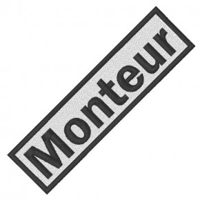 BUSINESS PATCH AUFNÄHER MONTEUR white/black 8x2cm