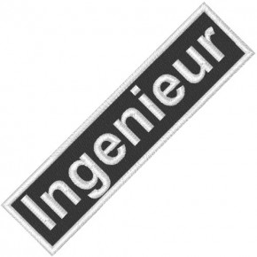 BUSINESS PATCH AUFNÄHER INGENIEUR black/white 9x2cm