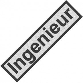 BUSINESS PATCH AUFNÄHER INGENIEUR white/black 9x2cm