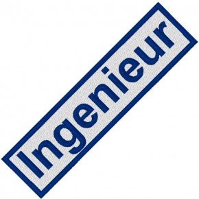 BUSINESS PATCH AUFNÄHER INGENIEUR white/blue 9x2cm