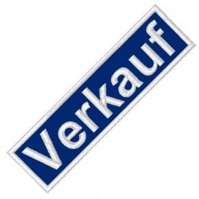 BUSINESS PATCH AUFNÄHER VERKAUF blue/white 8x2cm