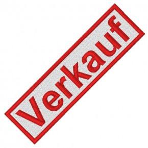 BUSINESS PATCH AUFNÄHER VERKAUF white/red 8x2cm