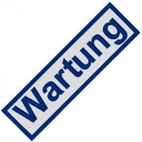 BUSINESS PATCH AUFNÄHER WARTUNG white/blue 8x2cm