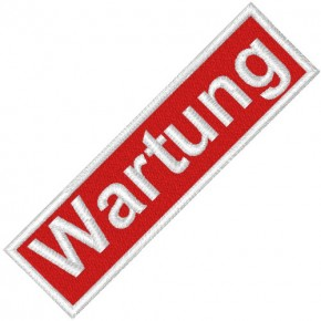 BUSINESS PATCH AUFNÄHER WARTUNG red/white 8x2cm