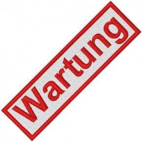 BUSINESS PATCH AUFNÄHER WARTUNG white/red 8x2cm
