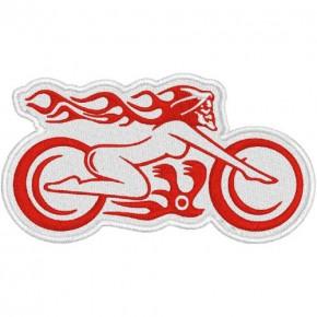 Biker Aufnäher Patch Ghost Lady 10x5,5cm weiss/rot