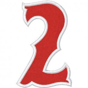 Zahl Aufnäher Patch Number Nummer 2 100% gestickt,H=7cm