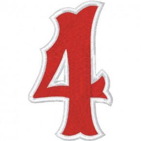 Zahl Aufnäher Patch Number Nummer 4 100% gestickt,H=7cm