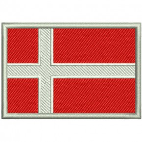 EMBROIDERED PATCH FLAG BANNER DENMARK 8X5,5CM (3.1X2.1 inch)