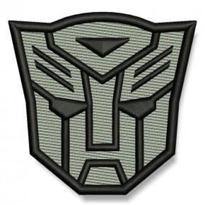 Transformer AUFNÄHER grau/schwarz PATCH Science-Fiction Superheld Hero 7x6,5cm